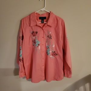 Susan Graver Style Pink Embroidered Shirt